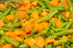 Tagli i fagioli asparagi ed ha tagliato la carota a cubetti Fotografia Stock