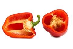 Tagli i peperoni dolci rossi isolati su fondo bianco Immagine Stock Libera da Diritti
