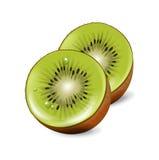 Tagli i pezzi del kiwi isolati su bianco Immagine Stock