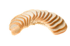 Tagli i pezzi di fondo di bianco del pane bianco immagini stock libere da diritti