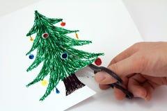 Tagli il documento un albero di Natale Fotografia Stock Libera da Diritti