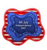 Tagli il fondo di carta per il quarto della festa dell'indipendenza di U.S.A., colori americani di luglio di nazione Immagini Stock Libere da Diritti