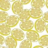Tagli il modello senza cuciture dei limoni Fotografia Stock Libera da Diritti