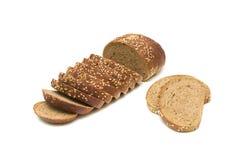 Tagli il pane isolato su priorità bassa bianca Fotografia Stock Libera da Diritti