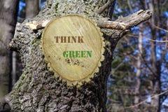 Tagli il ramo di albero con pensano il segno verde Fotografie Stock Libere da Diritti