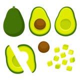 Tagli l'insieme dell'illustrazione dell'avocado royalty illustrazione gratis