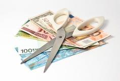 Tagli le banconote Immagini Stock