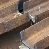 Tagli le travi di acciaio Fotografia Stock