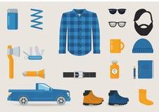 Tagli legna l'insieme sessuale di vettore dell'abbigliamento, degli strumenti e degli accessori di stile Fotografia Stock Libera da Diritti