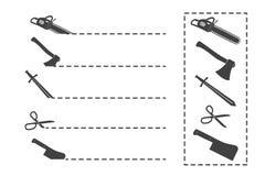Tagli qui il simbolo Forbici e linea punteggiata Forbici con le linee di taglio isolate Immagine Stock Libera da Diritti