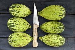 tagli un piccolo melone con un coltello, mangi un melone acerbo, piccoli meloni acerbi, Fotografie Stock Libere da Diritti