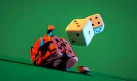 Taglia sull'illustrazione verde del fondo 3d Fotografie Stock