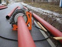 Taglia-tubi di plastica industriale Fotografie Stock
