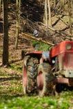 Taglialegna che per mezzo di un trattore della registrazione con l'argano Immagini Stock