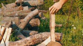 Taglialegna dell'uomo che taglia legno a pezzi con una vecchia ascia d'annata del ferro Legno tagliato manuale video d archivio