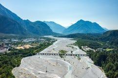 Tagliamento-Fluss Stockfotos