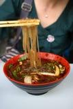 Tagliatella acida piccante della patata dolce Fotografia Stock
