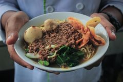 Tagliatella del pollo o di Mie Ayam dell'alimento tradizionale dell'Indonesia con una spruzzatura dei cracker e della polpetta fotografie stock