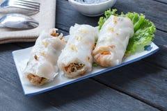 Tagliatella di riso cotta a vapore cinese Rolls Fotografie Stock