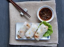 Tagliatella di riso cotta a vapore cinese Rolls Fotografie Stock Libere da Diritti