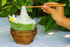 Tagliatella di riso nel canestro Fotografia Stock
