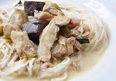 Tagliatella di riso tailandese in curry del pollo Immagini Stock