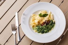 Tagliatelle素食面团盘用用蓬蒿和干蕃茄装饰的菠菜 与面团的可口午餐和 免版税库存照片