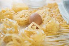 Tagliatelle面团家做用面粉和鸡蛋 库存照片