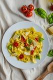 Tagliatelle в итальянских цветах, зажаренных в духовке томатах, базилике Tagliatelle Стоковые Изображения RF