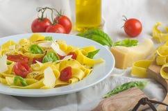 Tagliatelle в итальянских цветах, зажаренных в духовке томатах, базилике Tagliatelle Стоковая Фотография RF