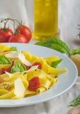 Tagliatelle в итальянских цветах, зажаренных в духовке томатах, базилике Tagliatelle Стоковое Изображение RF
