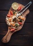 Tagliatelle и schrimps макаронных изделий Стоковая Фотография RF