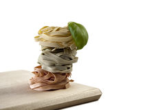 Tagliatelle. Mediterranean cooking with pasta and ingredients royalty free stock image