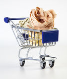Tagliatelle. In shopping cart on white background stock images