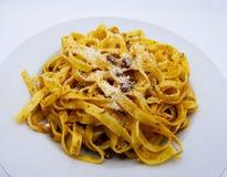 Tagliatelle alla bolognese, italian food, on white background stock photography