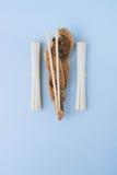 Tagliatelle asiatiche udon, bastoncini sui bastoni di legno Fotografia Stock