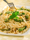 Tagliatelle with asparagus Stock Image