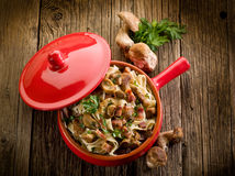 Tagliatelle with bacon and mushroom Royalty Free Stock Image