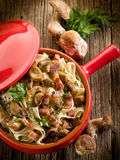 Tagliatelle with bacon and mushroom Stock Images