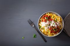 Tagliatelle bolognese med örter och parmesan, italiensk pasta royaltyfri bild
