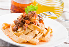 Tagliatelle with Bolognese Sauce. Royalty Free Stock Photography