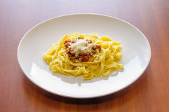 Tagliatelle Bolognese Sauce, with parmesan Royalty Free Stock Images