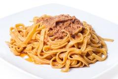 Tagliatelle with bolognese sauce. Tagliatelle pasta with bolognese sauce. Italian pasta Royalty Free Stock Photography