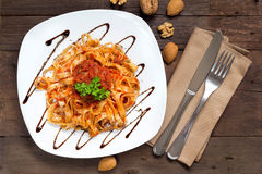 Tagliatelle with bolognese sauce Stock Photography