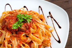 Tagliatelle with bolognese sauce Stock Images