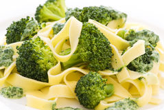 Tagliatelle with Broccoli Royalty Free Stock Photos