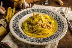 Tagliatelle with chicken curry Royalty Free Stock Images