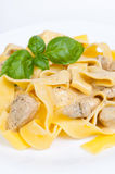 Tagliatelle with  chicken Stock Photo