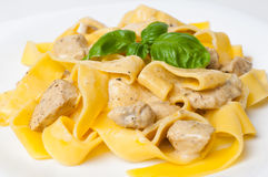 Tagliatelle with  chicken Stock Photos