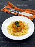 Tagliatelle with chicken with pumpkin sauce Royalty Free Stock Image